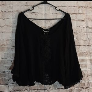 Maurices black flowy pancho top